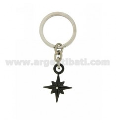 KEY RING ROSE OF THE WINDS AND STEEL BICOLORE ZIRCONE