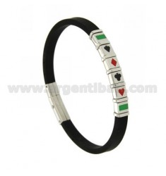 BLACK RUBBER BRACELET IN STEEL WITH ENAMELED FRENCH CARD SYMBOLS AND BRASS DOTS