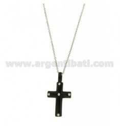 CROSS PENDANT STEEL WITH ELEMENTS AND ROLLED RUTENIO ZIRCONS CHAIN CABLE 50 CM
