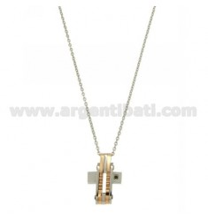 CROSS PENDANT STEEL WITH TWO TONE CHAIN CABLE 50 CM