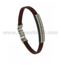 LEATHER BRACELET COCONUT WITH RED PLATE WITH GREEK AND CLOSING IN STEEL BICOLORE CM 21
