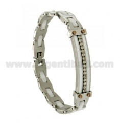 TWO.TONE BRACELET STEEL, CRYSTAL AND CERAMIC