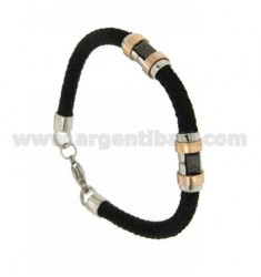 SILK BRAID BRACELET STEEL TUBE MM 5 TWO.TONE AND CERAMIC
