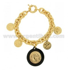 BRACELET GOLD PLATED BRONZE WITH MONEY AND BLACK RESIN