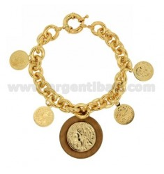BRACELET GOLD PLATED BRONZE WITH MONEY AND RESIN TORRONCINO