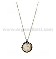 CHARM ROUND 18 MM WITH STEEL ANCHOR BICOLORE, POLISH AND ZIRCONE CHAIN CABLE 50 CM