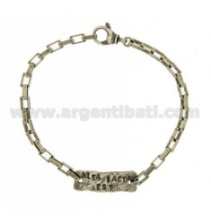 BRACELET WITH PLATE ALEA IACTA EST IN SILVER BURNISHED TIT 925 ‰ CM 20