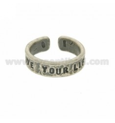 &quotLIVE YOUR LIFE&quot RING IN BURNISHED SILVER TIT 925 ‰ ADJUSTABLE SIZE
