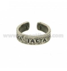 &quotALEA IACTA EST&quot RING IN BURNISHED SILVER TIT 925 ‰ ADJUSTABLE SIZE
