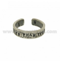 &quotSTRONGER THAN YESTERDAY&quot RING IN BURNISHED SILVER TIT 925 ‰ ADJUSTABLE SIZE