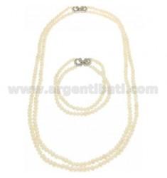 Halskette und Armband DOUBLE WIRE Pearl River 4 mm mit Verschluss SILVER TIT 925 ‰ und Zirkonia