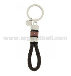 KEY RING STEEL BICOLOR, ZIRCONE AND LEATHER