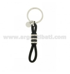 KEY RING IN STEEL AND TWO.TONE LEATHER