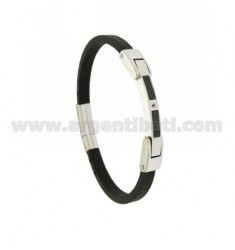 5 MM STEEL AND RUBBER BRACELET WITH CARBON FIBER AND ZIRCON WITH CLOCK CLOSURE