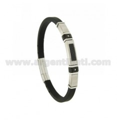 5 MM STEEL AND RUBBER BRACELET WITH CARBON FIBER AND ZIRCON