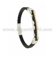 BRACELET STEEL AND RUBBER TRICOLORE &39MM 5