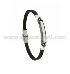 TWO-TONE STEEL AND RUBBER BRACELET MM 5