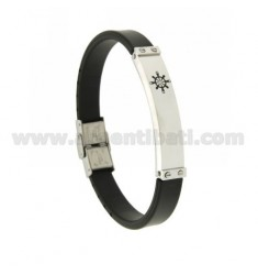 RUBBER BRACELET 10 MM WITH STEEL PLATE WITH ENAMELED RUDDER AND ZIRCON