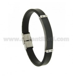 RUBBER BRACELET 10 MM WITH RUTHENIUM PLATED STEEL PLATE