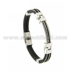 RUBBER BRACELET 10 MM WITH PLATE AND VENETIAN CHAIN INSERTS IN TWO-TONE STEEL