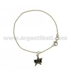BALL BRACELET 1.6 MM WITH ROCK STAR PENDANT ENAMELED SILVER RHODIUM-PLATED TIT 925 † CM 18