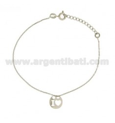 BRACELET WITH CABLE ROUND I LOVE YOU A PLATE IN SILVER RHODIUM TIT 925 ‰ CM 18