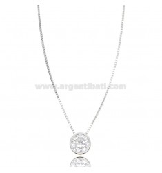 LIGHT POINT PENDANT IN CIPOLLINA WITH ZIRCON 7 MM WITH CHAIN 45 CM IN RHODIUM-PLATED SILVER 925 ‰
