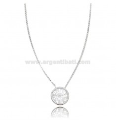 LIGHT POINT PENDANT IN CIPOLLINA WITH ZIRCON MM 8 WITH CHAIN CM 42 IN RHODIUM-PLATED SILVER 925 ‰