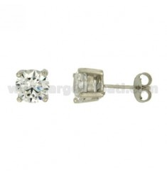 EARRINGS LIGHT POINT WITH WHITE ZIRCON 7 MM SILVER RHODIUM 925 ‰
