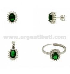 EARRINGS, NECKLACE AND RING SIZE ADJUSTABLE OVAL SHAPE WITH ZIRCONIA WHITE AND GREEN SILVER RHODIUM TIT 925 ‰