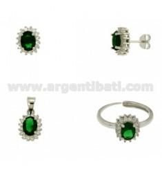 OHRRINGE, Halskette und Ring Größe verstellbar ovale Form mit Zirkonia weiß und grün Silber Rhodium TIT 925 ‰