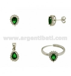 EARRINGS, NECKLACE AND RING SIZE ADJUSTABLE SHAPE DROP WITH ZIRCONIA WHITE AND GREEN SILVER RHODIUM TIT 925 ‰