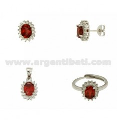 EARRINGS, NECKLACE AND RING SIZE ADJUSTABLE OVAL SHAPE WITH RED AND WHITE ZIRCONIA SILVER RHODIUM TIT 925 ‰
