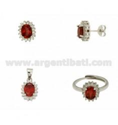 OHRRINGE, Halskette und Ring Größe verstellbar ovale Form mit roten und weißen Zirkonia Silber Rhodium TIT 925 ‰