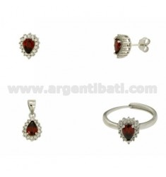 EARRINGS, NECKLACE AND RING SIZE ADJUSTABLE DROP SHAPE WITH RED AND WHITE ZIRCONIA SILVER RHODIUM TIT 925 ‰