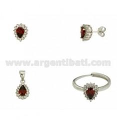 OHRRINGE, Halskette und Ring Größe verstellbar Tropfenform mit roten und weißen Zirkonia Silber Rhodium TIT 925 ‰