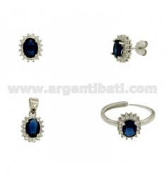 EARRINGS, NECKLACE AND RING SIZE ADJUSTABLE OVAL SHAPE WITH ZIRCONIA WHITE AND BLUE SILVER RHODIUM TIT 925 ‰
