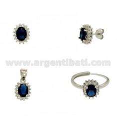 OHRRINGE, Halskette und Ring Größe verstellbar ovale Form mit Zirkonia weiß und blau silber rhodium TIT 925 ‰