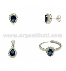EARRINGS, NECKLACE AND RING SIZE ADJUSTABLE SHAPE DROP WITH ZIRCONIA WHITE AND BLUE SILVER RHODIUM TIT 925 ‰