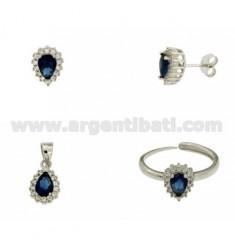 OHRRINGE, Halskette und Ring Größe verstellbar SHAPE DROP mit Zirkonia weiß und blau silber rhodium TIT 925 ‰