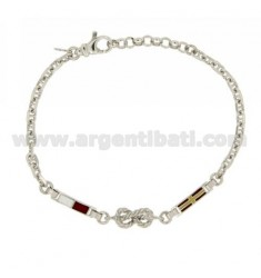 BRACELET WITH FLAGS MESH ship GLAZED AND NAUTICAL KNOTS IN AG TIT RODIATO 925 ‰ CM 19