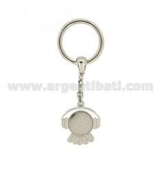 KEY RING DISC WORLD WITH HEADPHONES IN AG TIT RODIATO 925 ‰