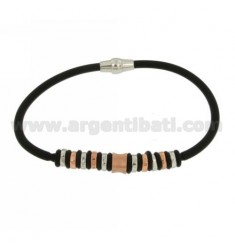 RUBBER BRACELET 19 CM WITH PARTITIONS IN AG RHODIUM-PLATED AND GOLD-PLATED TIT 925 ‰