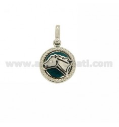 CHARM ROUND 15 MM WITH HORSE IN SILVER RHODIUM TIT 925 ‰ AND POLISH ZIRCONE