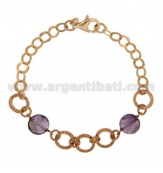 BRACELET MESH GIOTTO WITH STONES AMETHYST SILVER ROSE GOLD PLATED TIT 925 ‰ CM 18