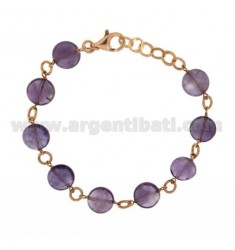 BRACELET WITH STONES AMETHYST SILVER ROSE GOLD PLATED TIT 925 ‰ CM 18
