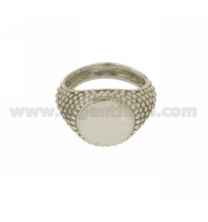 RING ROUND BALL SIDE EFFECT IN SILVER RHODIUM TIT 925 ‰ MEASURE 27
