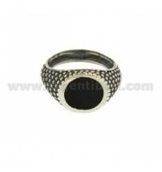 RING ROUND ONYX BLACK WITH SIDE EFFECT BALLS SILVER RHODIUM TIT 925 ‰ MEASURE 21