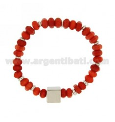 BRACELET ELASTIC WASHERS FAKE RED CORAL 8 MM WITH ELEMENTS SILVER 925 TIT