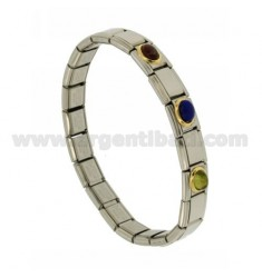BRACELET STEEL BAND WITH 9 MM 3 APPLICATIONS IN GOLD 750 ‰ AND STONES